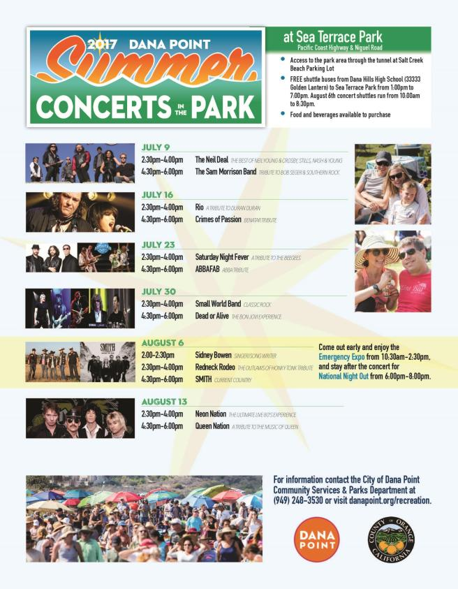 Dana Point Summer Concerts in the Park 2017