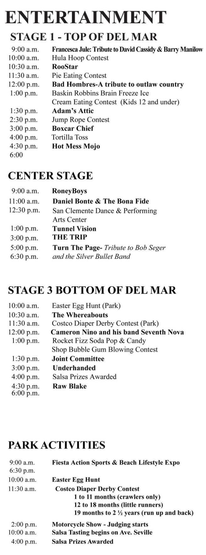 San Clemente Fiesta Music Festival August 13 2017 Schedule