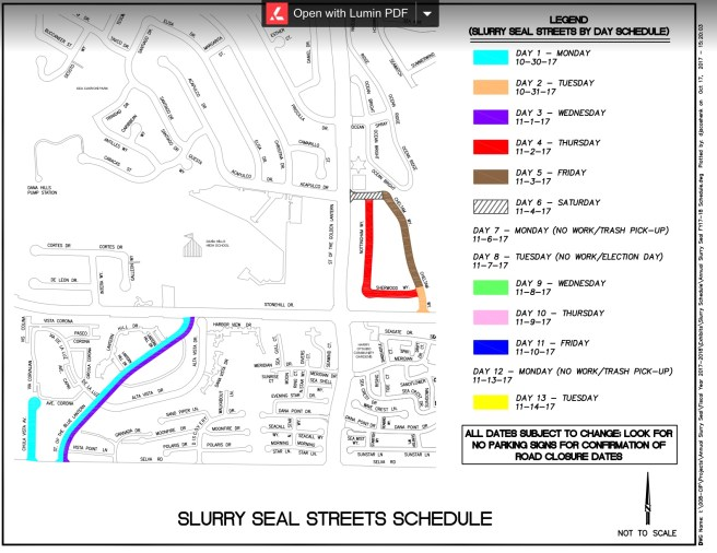 Dana Point California Slurry Seal Streets Schedule Fall 2017 Map #4