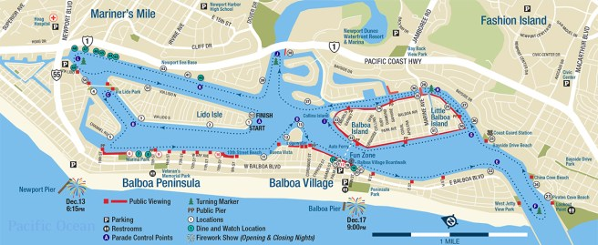 Newport Beach Christmas Boat Parade 2017 Map