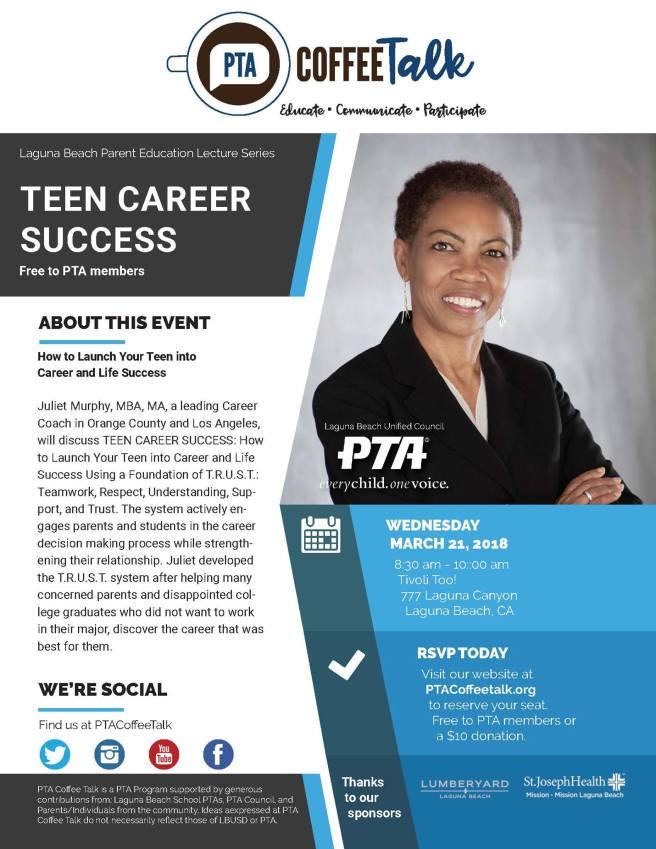 Laguna Beach PTA Coffee Talk March 21 2018 with Juliet Murphy