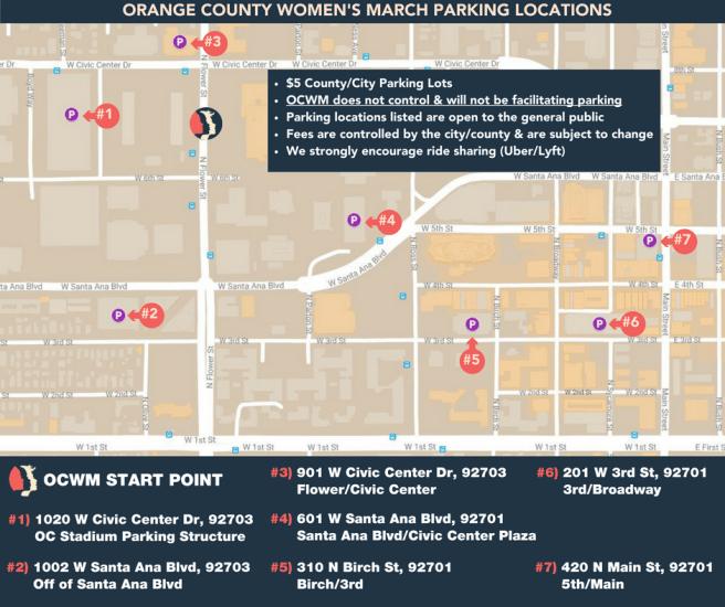 OC Women's March Janaury 20 2018 Parking Map