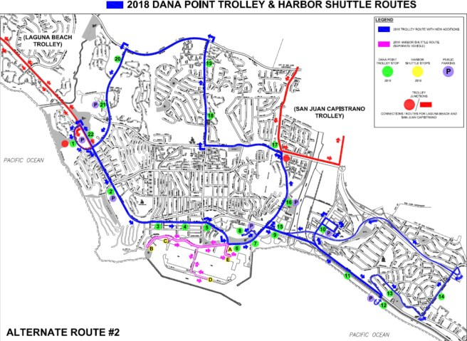 Dana Point Trolley Summer 2018 Route Modifications Alternative 2