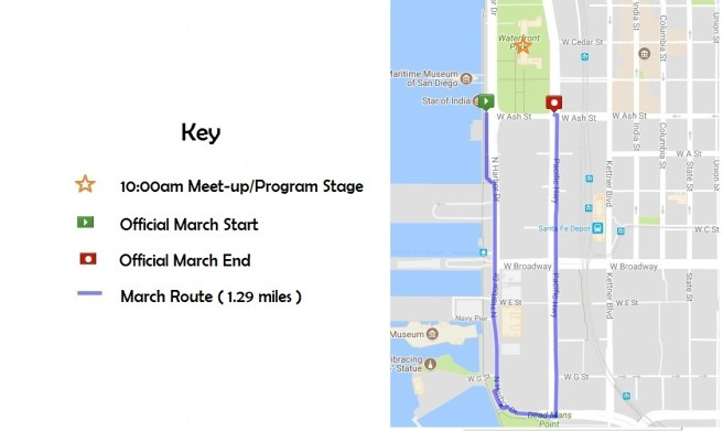 Women's March San Diego 2018 Map