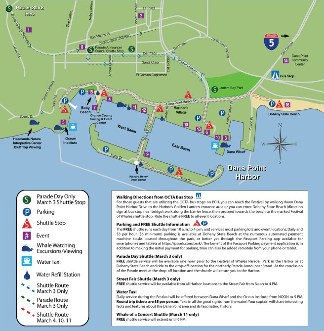 Dana Point Festival of the Whales 2018 Parking/Shuttle Map