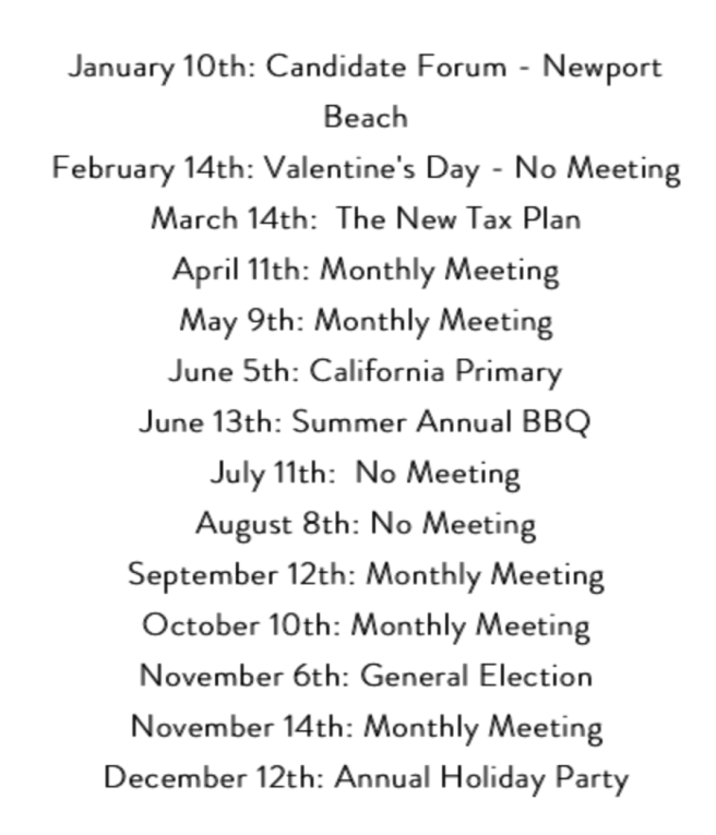 Laguna Beach Democratic Club 2018 Schedule