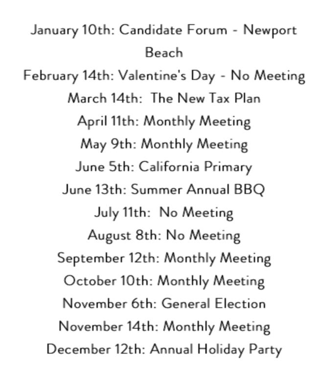 Laguna Beach Democratic Club 2018 Schedule