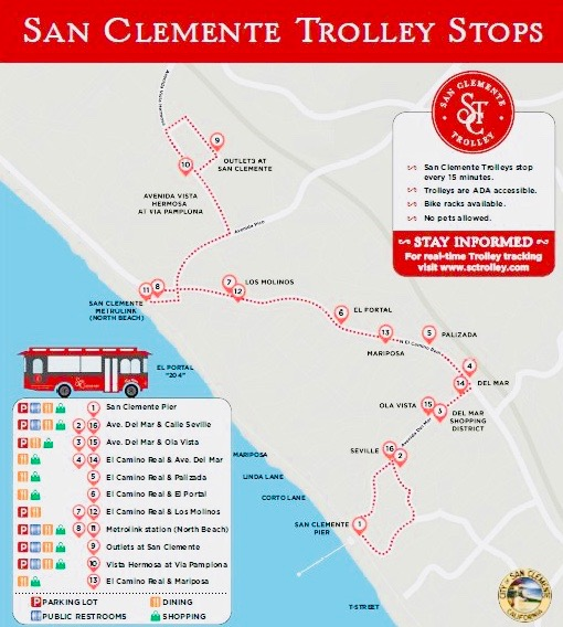 San Clemente Trolley 2018 Stops Map