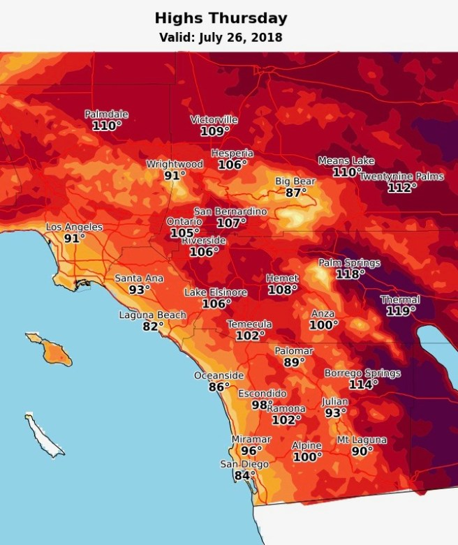 Southern California Weather July 26 2018 Courtesy of NWS San Diego