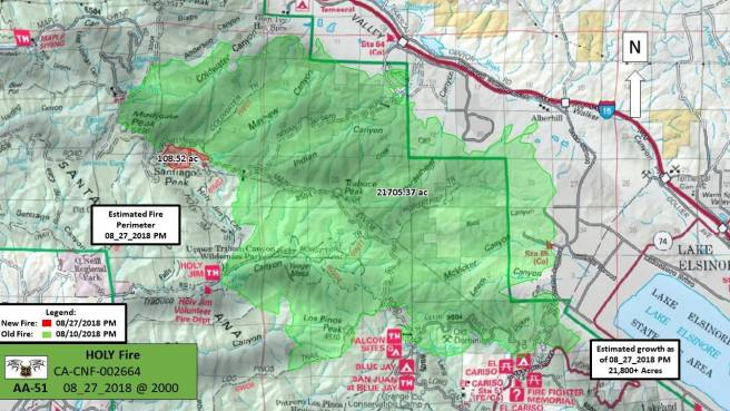 Holy Fire Map August 27 2018 Courtesy of US Forest Service Cleveland NF