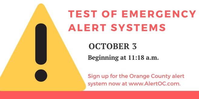 Orange County California Emergency Alert Test 2018