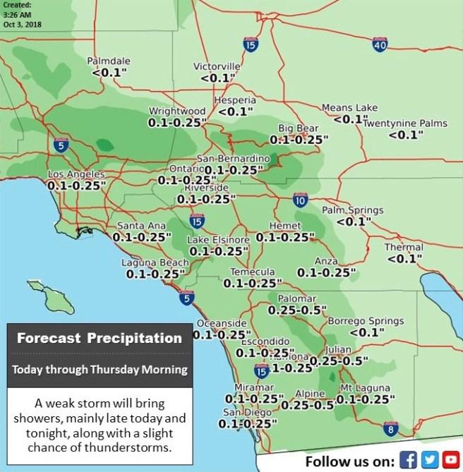 Southern California Rain Day Wednesday October 3 2018