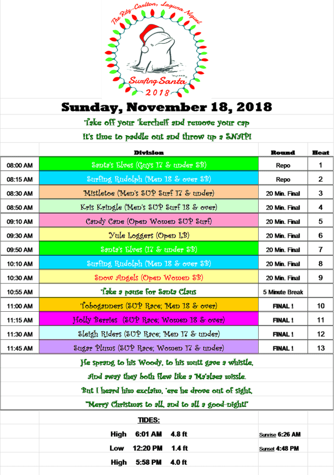 Dana Point Surfing Santa Sunday Novmeber 18 2018 Schedule