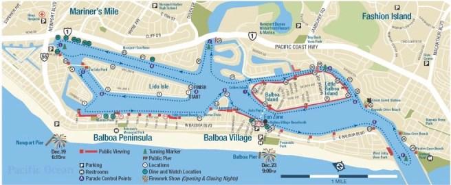 Newport Beach Christmas Boat Parade 2018 Map