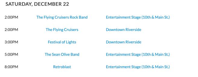 Riverside Festival of Lights Live Entertainment Schedule Saturday December 22 2018