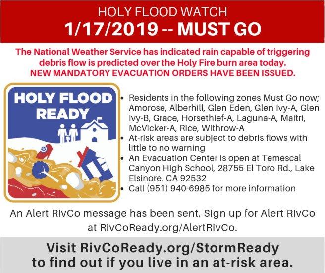 Holy Fire Flood Watch Mandatory Evacuation January 17 2019