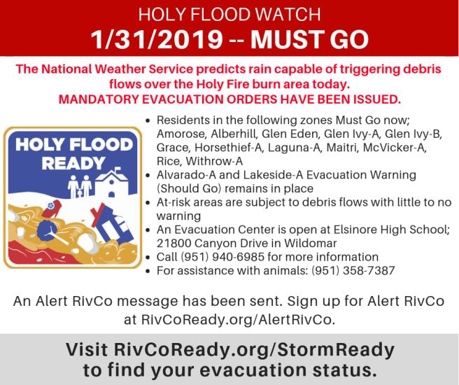 Holy Flood Watch Mandatory Evacuation Order Thursday January 31 2019