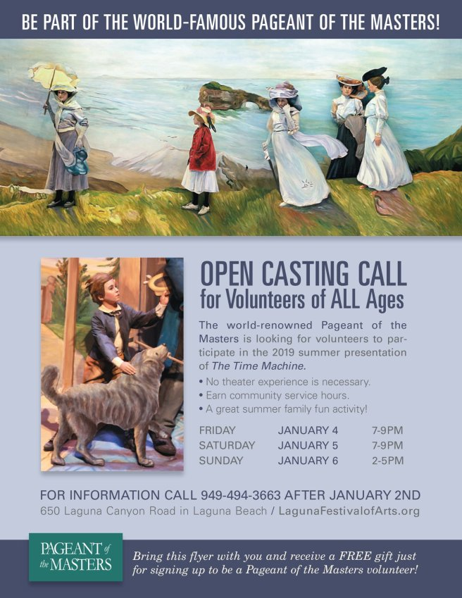 Laguna Beach Pageant of the Masters 2019 Open Casting Call January 2019