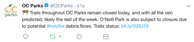 OC Parks Trials Closed Monday January 14 2019