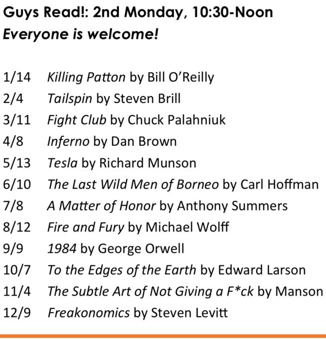 Dana Point Guys Read! Book Club 2019 Schedule