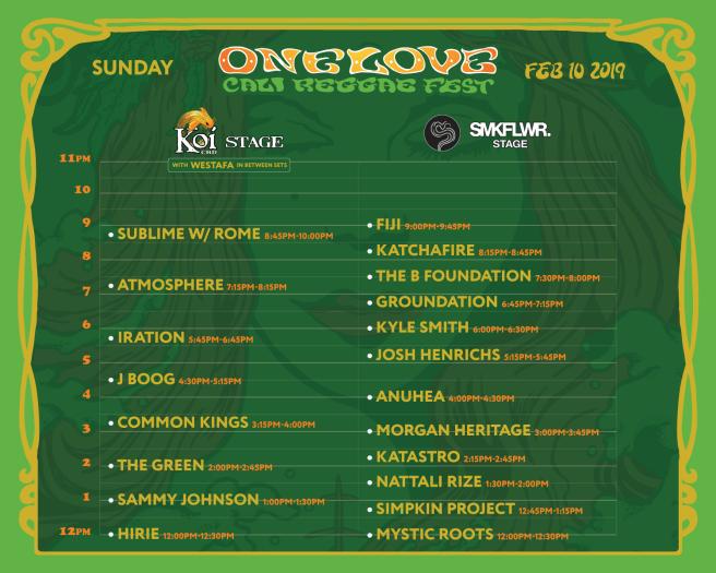 Long Beach One Love Cali Reggae Fest Sunday February 10 2019 Lineup