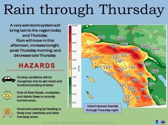 Southern California Rain Day Wedneday Febraury 13 2019