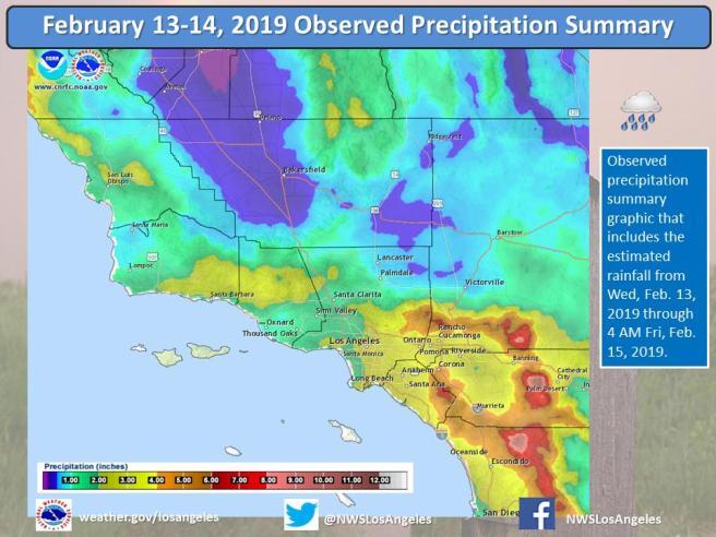 Southern California Rain Summary February 13-14 2019