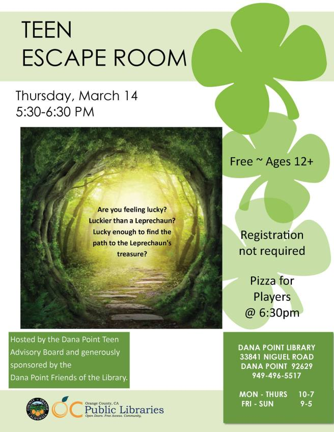 Dana Point Library Teen Escape Room March 14 2019