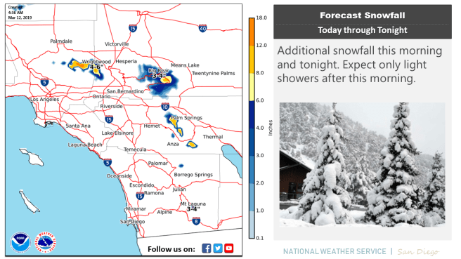 Southern California Weather Tuesday March 12 2019
