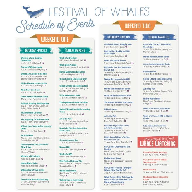 Festival of Whales 2019 Schedule