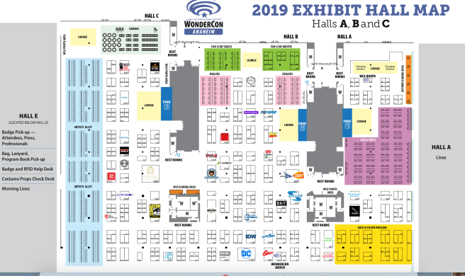 Wondercon March 2019 Exhibitor Map