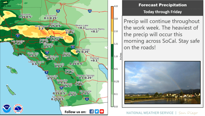 Southern California Rain Wednesday March 6 2019 Courtesy of NWS