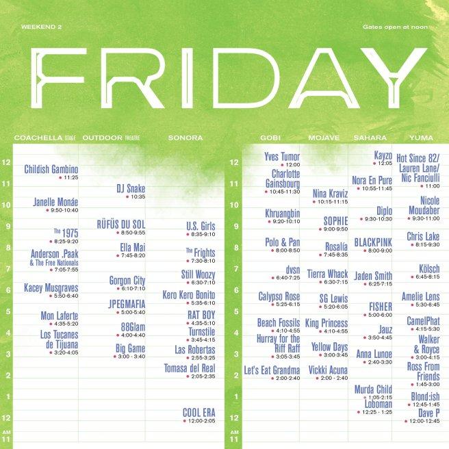 Coachella 2019 Weekend Two Friday April 19 2019 Set Times