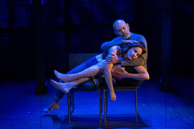It begins with a kiss. JOE SPANO and FALINE ENGLAND star in the Laguna Playhouse production of Heisenberg. Photo by Jeanne Tanner