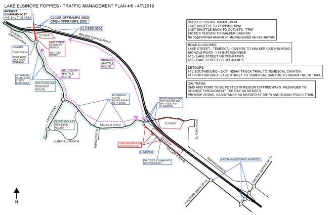 Lake Elsinore Super Bloom Traffic Mamagement Map April 6 2019 and April 7 2019