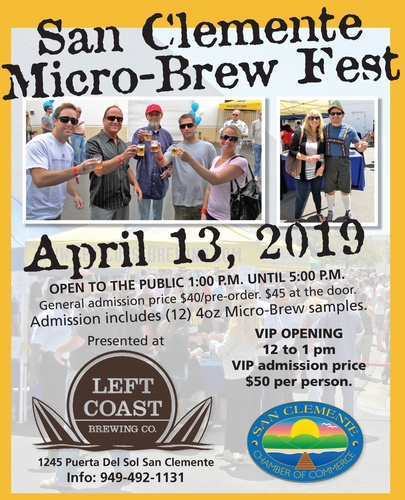 San Clemente Micro-Brew Fest April 13 2019
