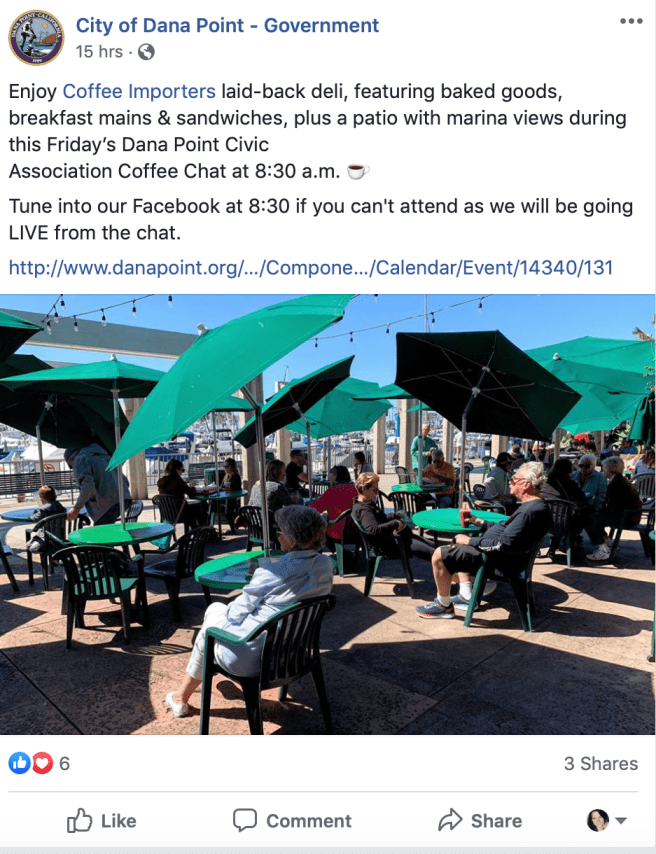 Dana Point Coffee Chat Live on Facebook April 19 2019