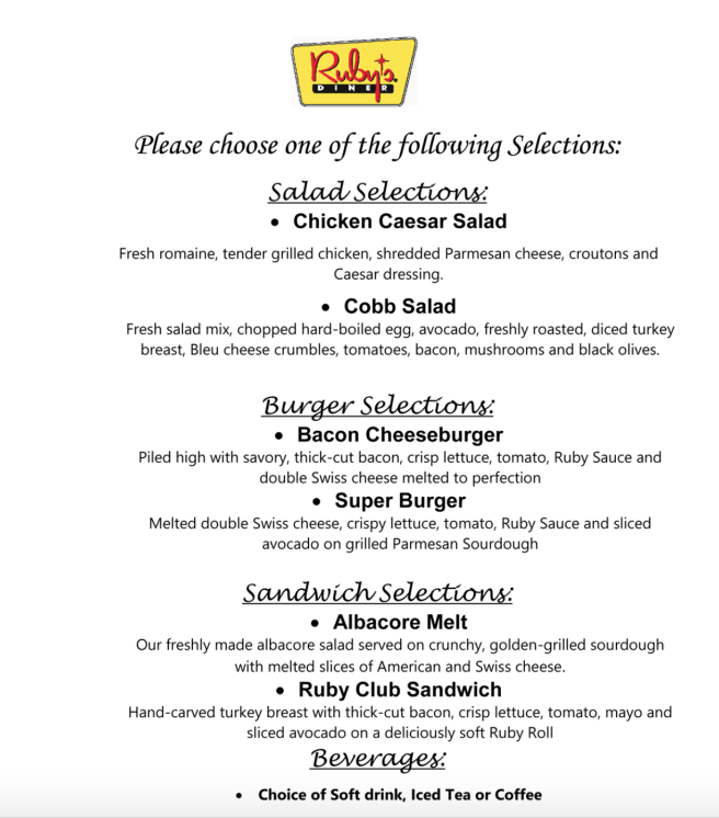 San Clemente Chamber Networking Lunch at Ruby's Diner Menu April 25 2019