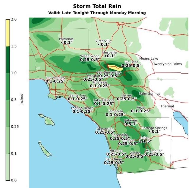 NWS Southern California Rain Total Projections May 26 2019 thru May 27 2019