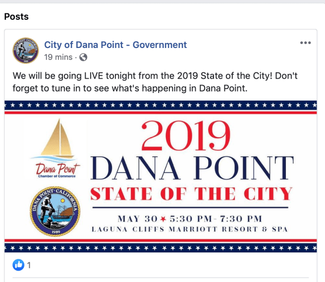 Dana Point State of City May 30 2019 Facebook Live