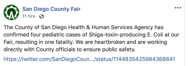 San Diego County Fair and E. coli Outbreak June 28 2019