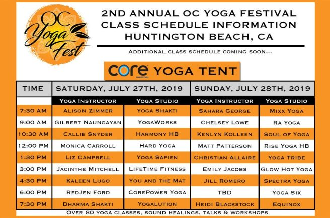 OC Yoga Fest July 27 & July 28 2019 Schedule