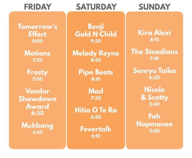 OC Night Market Live Music Lineup August 23 thru August 25 2019