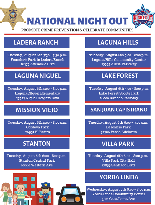 Orange County Sheriff's Department National Night Out August 6 2019