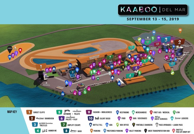 Kaaboo Del Mar Festival September 13-15 2019 Event Map
