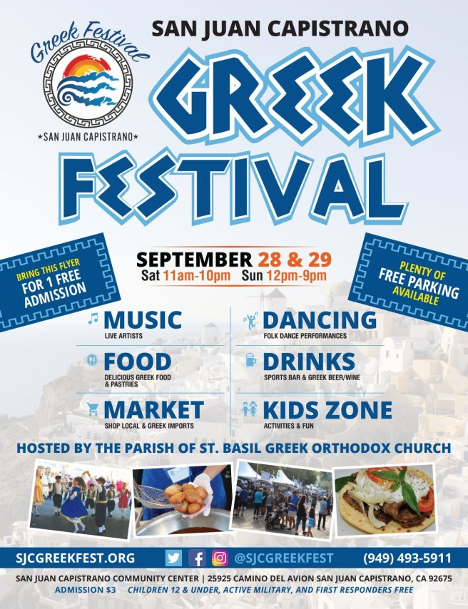 San Juan Capistrano Greek Festival September 28 and September 29 2019