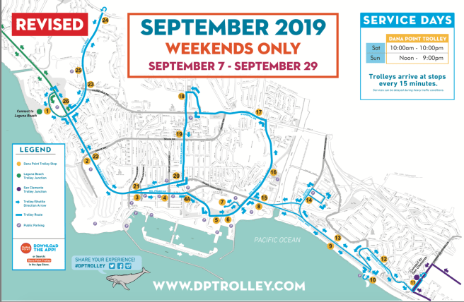 Dana Point Trolley Weekends September 2019 Map