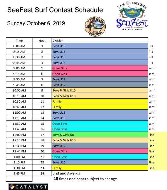 San Clemente SeaFest Surfing Schedule Sunday October 6 2019