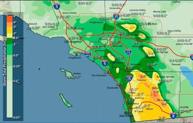 NWS San Diego Wednesday November 20 2019 Projected Rain Totals