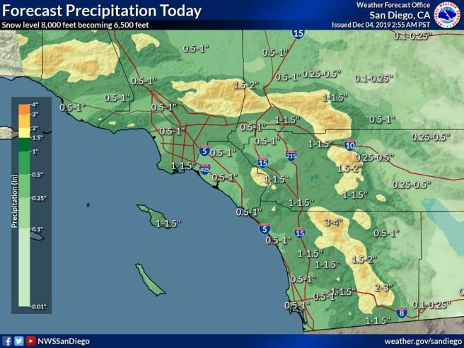 Southern California Rain Day Forecast Map Wednesday December 4 2019
